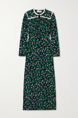 Rixo Ada Lace-trimmed Floral-print Crepe Midi Dress - Black