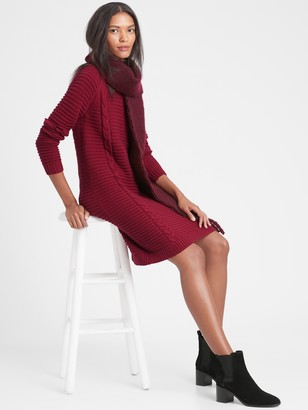 Banana Republic Petite Cable-Knit Sweater Dress