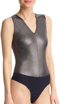 Commando Deep V-Neck Faux Leather Bodysuit