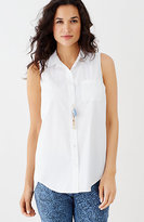J. Jill Sleeveless Cotton-Stretch Shirt