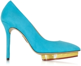 Charlotte Olympia Debbie Swimming Pool Blue Suede Platform Pump