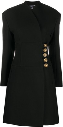 Balmain Corset Wool Wrap Coat