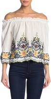 Flying Tomato Off-the-Shoulder Floral Embroidered Top