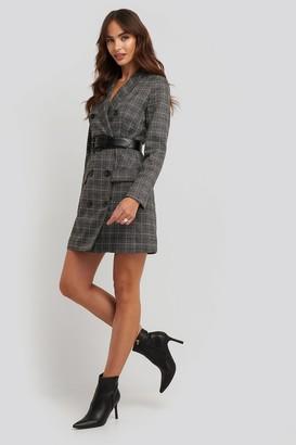 NA-KD Plaid Double Breasted Blazer Dress Grey