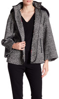 Betsey Johnson Faux Fur Trim Zip Front Cape