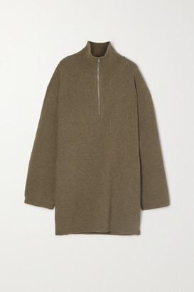 Totême Tomar Ribbed Wool-blend Turtleneck Sweater - Green