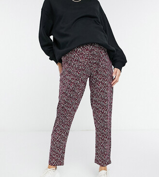 New Look Maternity soft touch jogger in burgundy spot print