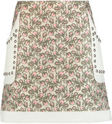 Giambattista Valli Studded paneled jacquard and crepe mini skirt