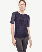 Ann Taylor Mixed Lace Top