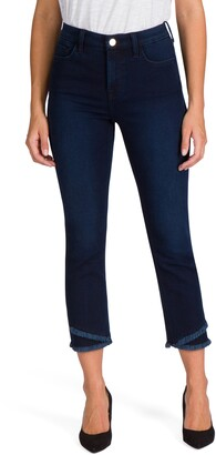 JEN7 by 7 For All Mankind Angled Fray Hem Straight Leg Jeans