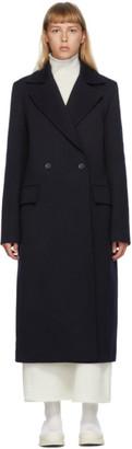 Jil Sander Navy Heavy Wool Tricotine Newman Coat