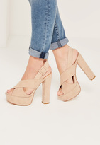 Missguided Nude Cross Over Strap Platform Heels