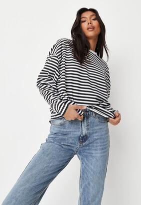 Missguided Black Stripe Drop Shoulder T Shirt