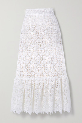 Miu Miu Ruffled Cotton-blend Guipure Lace Midi Skirt - White