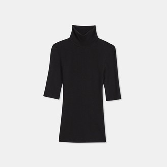 Theory Short-Sleeve Turtleneck Sweater in Regal Wool