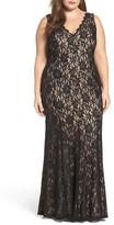 Decode 1.8 Plus Size Women's Illusion Lace A-Line Gown