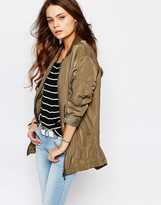 Only Longline Zip Front Bomber Jacket