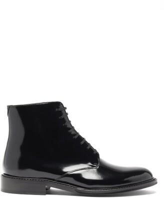 Saint Laurent Army Lace-up Patent-leather Boots - Black