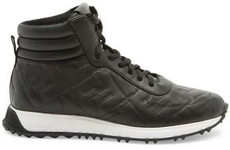Fendi FF Logo Leather High-Top Sneakers