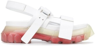 Rick Owens Two-Tone Sole Touch-Strap Sandals