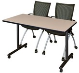 "BEIGE Marin Mobile Training Table Symple Stuff Size: 29"" H x 60"" L x 24"" W, Tabletop Finish"