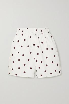 Ganni Polka-dot Cotton-poplin Shorts - White