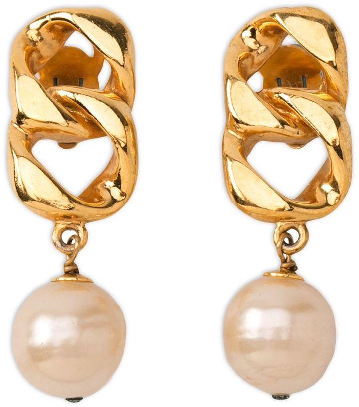 Chanel pearl chain earrings