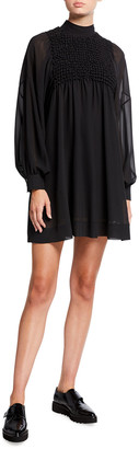 Ganni Long-Sleeve Smock Chiffon A-Line Dress