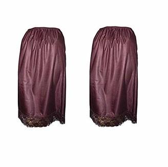Damart Pack of 2 Mulberry DEEP LACE Trim Half Slip Underskirt (Size 12/14)