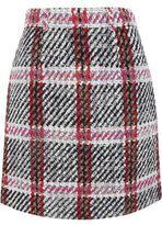 Carven Tartan Bouclé-Tweed Mini Skirt