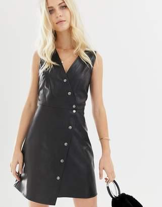 Asos Design DESIGN sleeveless popper mini dress in PU-Black