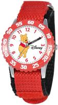 Disney Winnie the Pooh Kid's Time Teacher Watch with Rotating Bezel- Red Strap