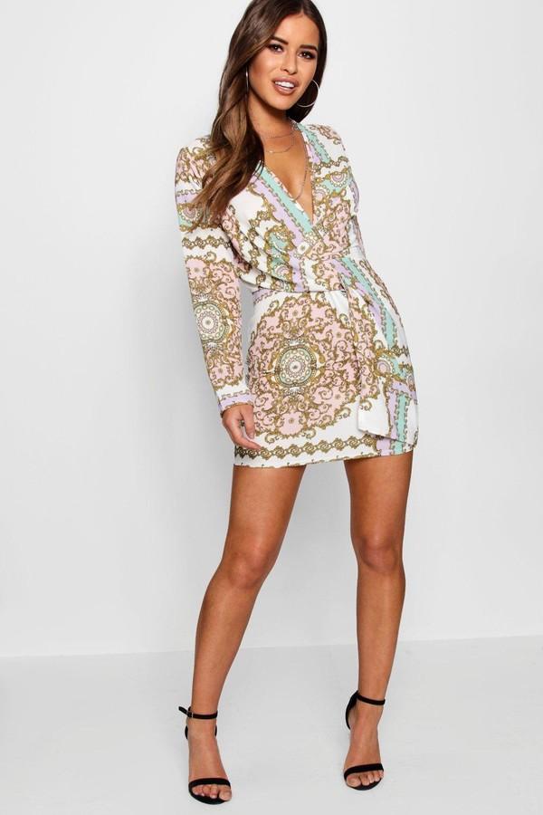 boohoo Petite Chain Print Woven Shift Dress