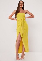 Missguided Yellow Tie Front Bandeau Midi Dress