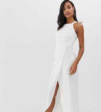 Scarlet Rocks sequin top maxi dress with wrap skirt in white