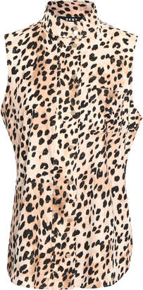 DKNY Leopard-print Crepe De Chine Shirt