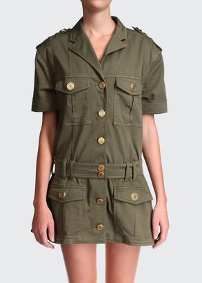 Balmain Denim Shirdress w/ Cargo Pockets