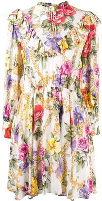 Boutique Moschino Floral Flared Long-Sleeve Dress