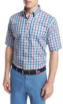 Peter Millar Plaid Short-Sleeve Woven Shirt, Blue