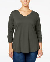 Style&Co. Style & Co. Plus Size V-Neck Ruched-Sleeve Top, Only at Macy's