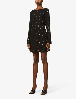 Diane von Furstenberg Lisandra metallic lip pattern crepe mini dress