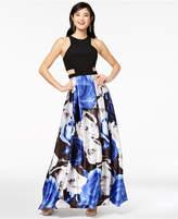 Blondie Nites Juniors' Printed-Skirt Illusion Gown