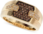 Effy Gento by Men's Brown (1/4 ct. t.w.) and White Diamond (1/8 ct. t.w.) Ring in 14k Gold