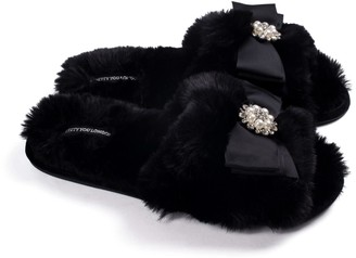 Pretty You London Anya Slider Slipper With Diamante In Black