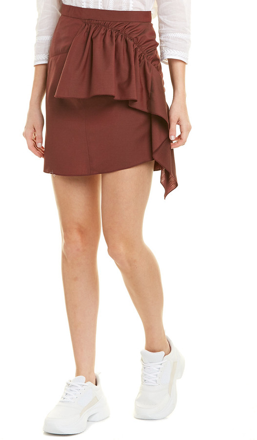 Thumbnail for your product : Isabel Marant Ruffled Wool Mini Skirt
