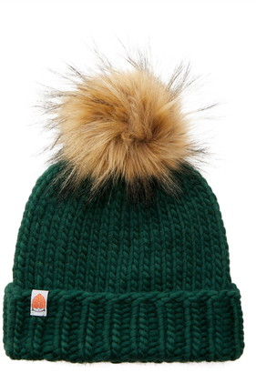 Sh*T That I Knit The Rutherford Merino Wool Beanie with Removable Faux Fur Pompom