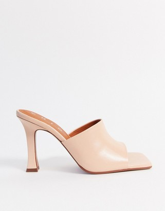 CHIO heeled leather mules with square toe in beige leather