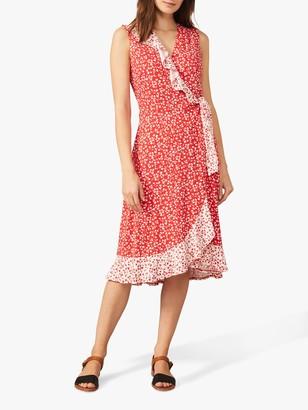 Phase Eight Ebony Floral Midi Wrap Dress, Red/Ivory