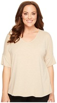 B Collection by Bobeau Curvy Plus Size Mallory Dolman Mixed Media Top