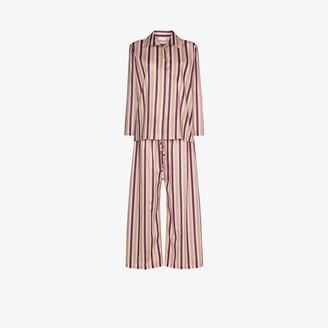 POUR LES FEMMES Striped Cotton Pyjamas